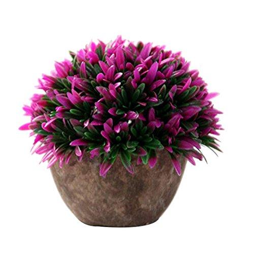 LAAT, erba artificiale, fiori, pianta finta, in plastica, vaso decorativo da tavolo per matrimoni all'aperto, casa, ufficio, giardino, plastica, Pink, 13*15cm