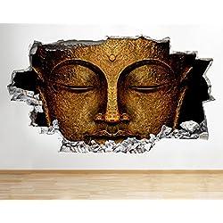 tekkdesigns R502cabeza de Buda dios oro dormitorio Smashed adhesivo pared 3d arte pegatinas vinilo habitación