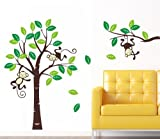 WallStickersDecal® Dschungel Wald Tier Affe auf bunten Baum Wandtattoo Wandaufkleber 170cm(H)(große)