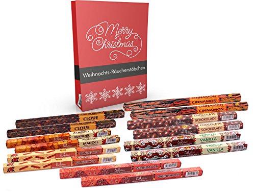 Preisvergleich Produktbild Räucherstäbchen-Set Winter Weihnacht mit Mandel,  Nelken,  Sandelholz,  Schokolade,  Vanille,  Zimt und zwei Überraschungen. Das Probierset für die kalte Weihnachtszeit,  original Luxflair-Set inkl. Inspirationskarte