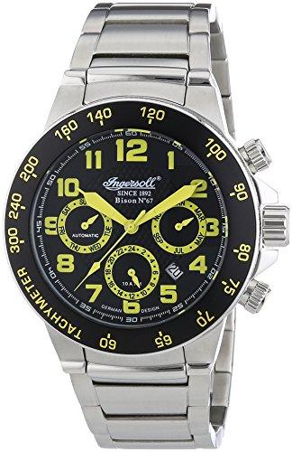 Ingersoll Herren-Armbanduhr XL Bison N0.67 Chronograph Automatik Edelstahl IN1512BKMB