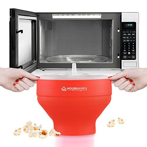 confronta il prezzo Ciotola pieghevole per forno a microonde, in silicone, macchina per popcorn, con coperchio e manici miglior prezzo