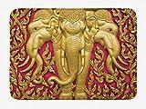 Soefipok Tappetino da Bagno Elefante, Giallo Tinto Motivo Elefante su Porta Tailandese Edificio Antico Statua Classico, Peluche Tappetino Arredamento Bagno con Supporto Antiscivolo