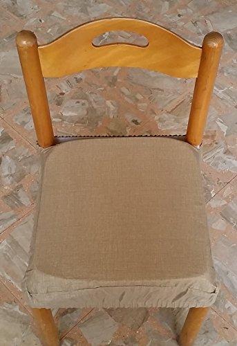 N.6 cuscini coprisedia quadrati universali sfoderabili con zip tinta unita tortora
