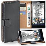moex Sony Xperia Z1 | Hülle Dunkel-Grau mit Karten-Fach 360° Book Klapp-Hülle Handytasche Kunst-Leder Handyhülle für Sony Xperia Z1 Case Flip Cover Schutzhülle Tasche