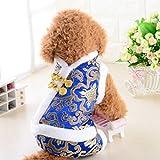 Hundebekleidung, Seide Satin Tang Suit Plus Gepolsterte Hochzeit Vier Füße Kleidung Weihnachten Chinesisches Neujahr Winter Warme Mantel Haustier Kleiner Hund Siamese Jacke 5 Größe ( Color : Blue , Size : S )