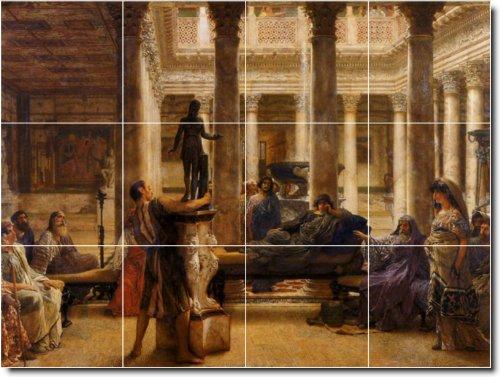 LAWRENCE ALMA-TADEMA HISTORICA DUCHA MURAL DE AZULEJOS 14  12 75X 17PULGADAS CON (12) 4 25X 4 25AZULEJOS DE CERAMICA