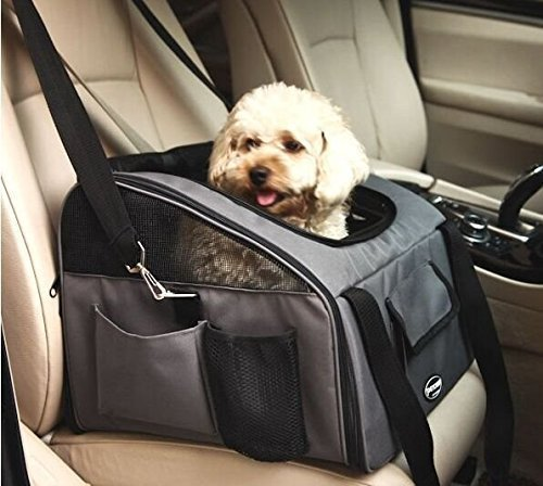 Travel Car Seat Carrier for Cat Dog Safety Folding Portable Bag Tote Top Opening Padded Mesh Pet Carrier (S-38*32*24cm, Grey)