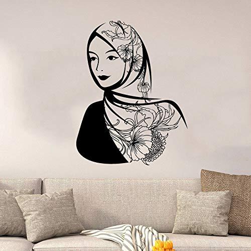 zhuziji Vinyl Wandtattoos Arabisch Schöne Frau Kopftuch Muslim Islam Schlafzimmer Dekoration Schönheit Frauen Deca 57X74 cm