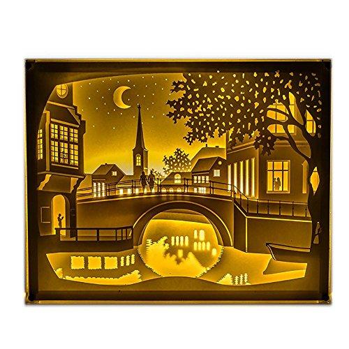 Neuheit LED kleine Stadt kleine Brücke USB Stereo 3D Lichter Multicolor Fernbedienung Papier Skulptur Lampe Nachtlicht , A Transformatoren Stadt