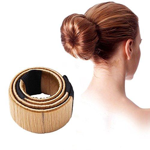 Demarkt DIY Disk-Haar Knotenringe Donut Hair Bun Mode Frisur Damen Fashion Haarstyling Tool Haarknoten Knotenringe LichtKaffee 1 Stück