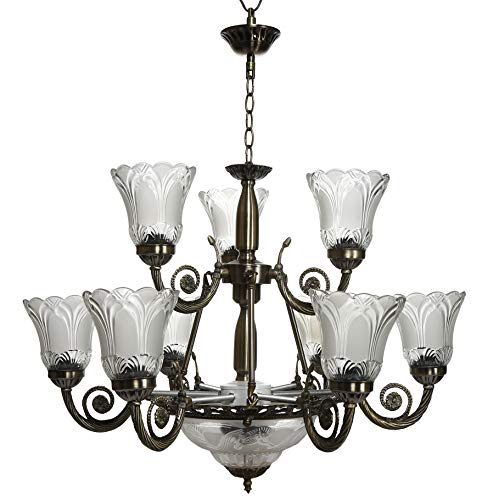Imper!al Antique Design Golden Black Chandelier Jhoomer Ceiling Light (12 Light)