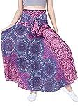 Lofbaz Damen Bohemien Hüfte Langer Rock Süße Hippie Style Blumen Design #1 Violett Einheitsgröße