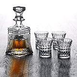BAIVIT Das bleifreie Whisky-Dekanter-Set kann für Whisky, Wein oder Spirituosen verwendet Werden und beinhaltet einen Dekanter mit 4 passenden Gläsern,709ml