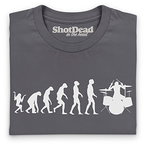Evolution of Drumming T-Shirt Funny Novelty Gift, Herren Anthrazit