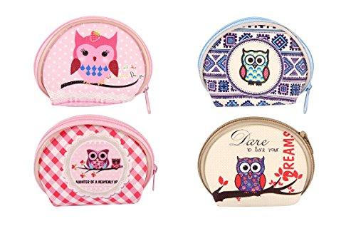 HENBRANDT 12x Girls Owl Mini Coin Purse Party Bag Filler