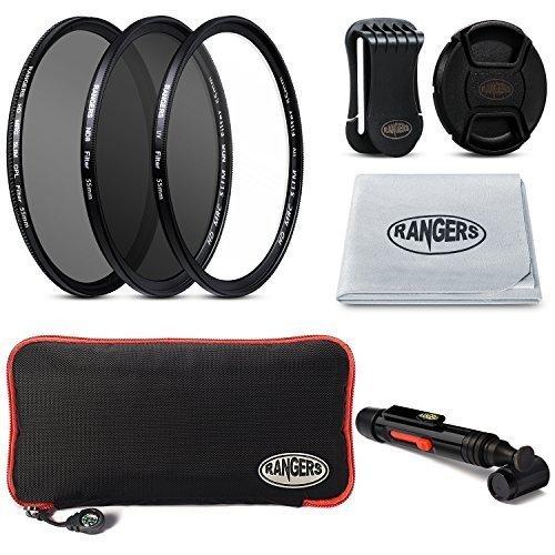 Rangers 3-Piece Filter Kit für 55mm-Kamera-Objektiv inklusiv 55mm Filter Kit (UV, CPL Polfilter, neutral Dichte ND10) + Tragetasche + Snap-On Lens Cap w / Cap Keeper Leash + Objektiv-Reinigungstuch + Objektiv-Reinigungs-Feder