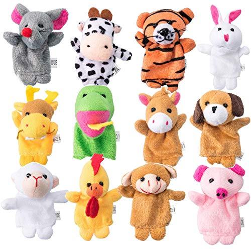 ,Stoffpuppen Tierfiguren Finger Tiere Plüschfigur Handpuppe Set Puppen Spielzeug 12 Stück Tier für Kinder Baby Story Zeit Requisite Lernspielzeug Fingerpuppen ()