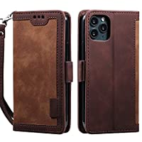 Mylne Retro Wallet Case for iPhone 12 Pro,PU Leather Folio Flip Wallet Stand with Card Slots Magnetic Closure Soft TPU Inner Cover,Brown