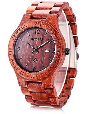 [Gesponsert]Bewell ZS-W086B Holz Quarz Männer Armbanduhr Analog Datum Anzeige