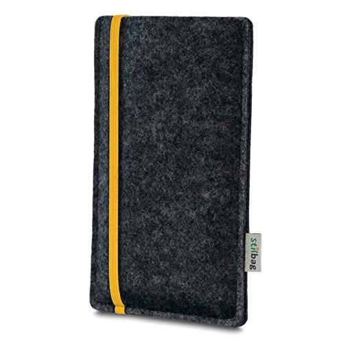 Stilbag Filztasche 'LEON' für Apple iPhone SE - Farbe: pink-anthrazit gelb