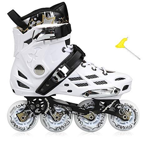 SKATES Rollers kates patins à roulettes en ligne adultes mâles et femelles à une rangée de chaussures plates alignées (Couleur : WhiteC, taille : 43)