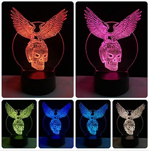 Großhandel bösen flügel schädel kopf 3d usb led lampe halloween dekorative stimmung 7 farben ändern party coolenachtlicht mann spielzeug