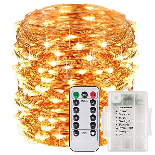 Battery Operated Waterproof Christmas light - Portable Outdoor LED String Lights 33 Feet 100LED Copper Wire Starry String Lights with Wireless Remote Control By Tempo (Battery NOT INCLUDED)-(Warm White)