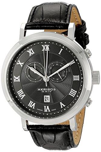 Akribos XXIV da uomo Swiss-Orologio cronografo, cinturino in pelle
