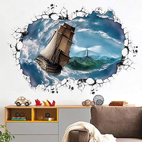 AMTQD Adesivi murali Nuvole di Mare 3D Candela Grande Decorazioni per la casa Soggiorno Camera da Letto Fai da Te Arte murale Parete Rimovib