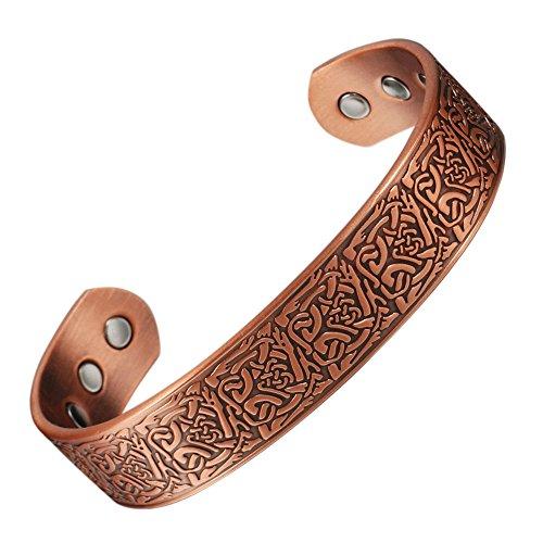 wollet Jewelry 17,8cm Herren 6Magnete Magnet Kupfer Armband für Herren Arthritis Armreif Gesundheit Heilung Schmerzlinderung