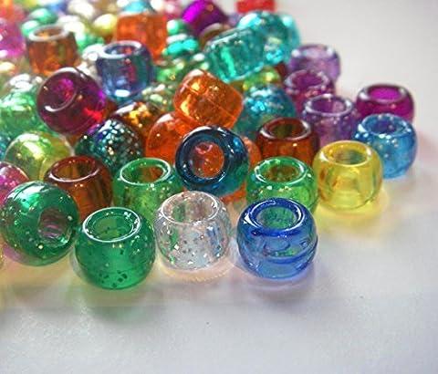 100 Mixed Transparent Glitter & Crystal Pony Beads for Loom Band (Suncatcher Portachiavi)