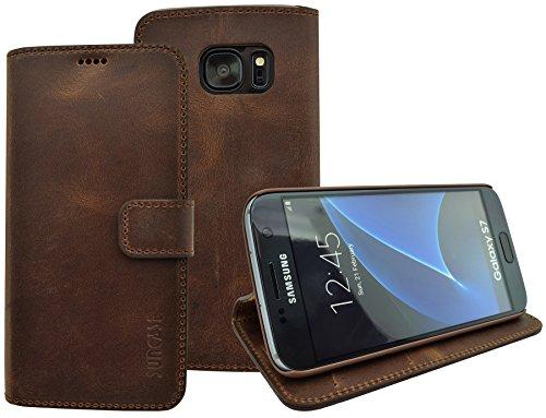 Book-Style Ledertasche Tasche für Samsung Galaxy S7 *ECHT LEDER* Handytasche Case Etui Hülle (Original Suncase) in antik - coffee