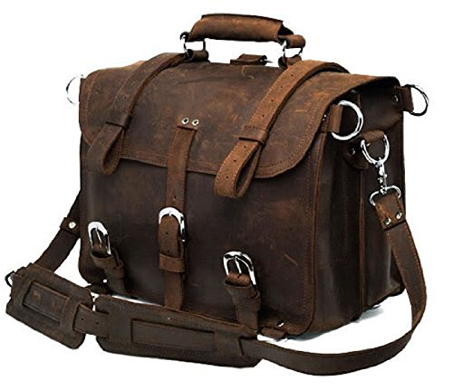 Bags World High Quality Handmade bags 100% Crazy Horse Leather Men's Briefcase Backpack Travel Bag Laptop Bag Huge, Dark Brown,16.5