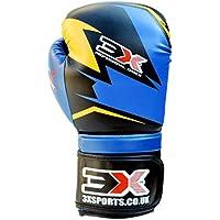 PROFESSIONAL CHOICE 3 x deportes Muay Thai formación cuero sintético Boxeo Focus guantes de boxeo Kick Boxing Fighting, Infantil, color azul y negro, tamaño 340 g