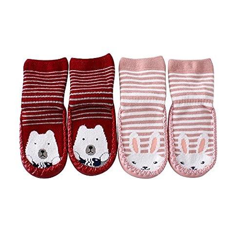 Sweet Nana Cartoon niedlichen dicken Winter Warm Baby Kleinkind Anti Slip Skid Grip Fußboden Socken Slipper Schuhe Stiefel Baumwolle Sohle Weichgummi unten Prewalker (18-30 Monate, (Kniehohe Slippers)