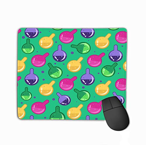 Non-Slip Thick Rubber Large Mousepad 11.81 X 9.84 Inch Magic Potion Pattern Alchemy Glass flasks Seamless Background Gift wrap Textile Party Banners Wallpaper -