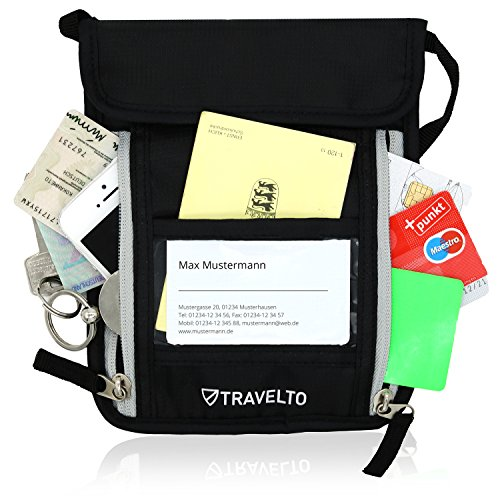 TRAVELTO Unisex Brustbeutel mit RFID-Blocker – Brusttasche, Brustbeuteltasche, Reisegeldbeutel, Dokumententasche – Chipkarten unterwegs sicher aufbewahren