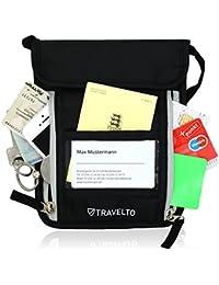 TRAVELTO portadocumentos de Cuello Unisex con Bloqueador RFID – morral/portadocumentos Colgante/Cartera de Viaje/Bolso portadocumento