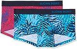Björn Borg Damen 2p Minishorts Palm & BB Animal Blau (Directoire 71071), Small