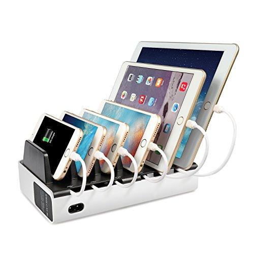 Mixmart Stazione di Ricarica 6 porte USB, Docking Station/cavi organizzatore, con La Base di Alimentazione Staccabile per Smartphone e Tablet
