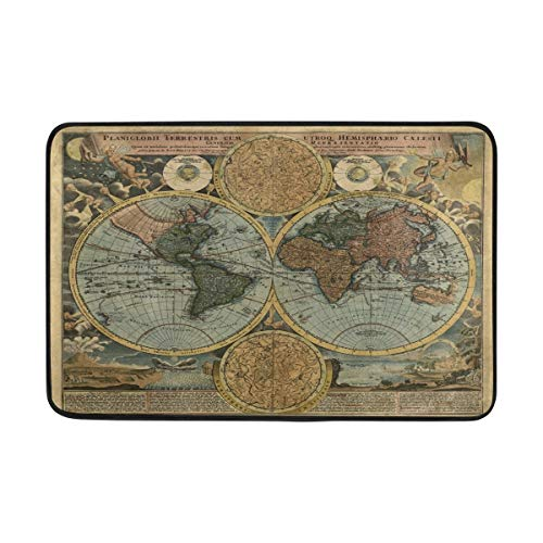 23.6x15.7 inch/60x40cm Non-Slip Polyester Doormat Old World Globe Map Sailboat Washable Entrance Rug for Inside Floor Living Room Toilet Patio Garage (Globe World Old)