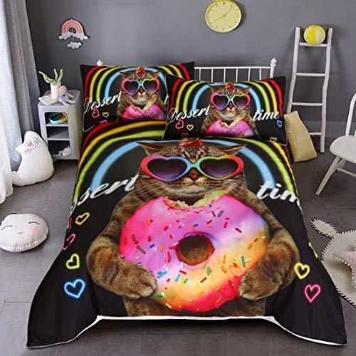 FOREVER Kinderzimmer Bettwäsche-Set Süßes Pferd und Katze Muster Helle Mädchen Bettbezug-Set Kinder Inklusive passendem Kissenbezug (Color : F, Size : Queen:3PCS223X228CM) (Das Blatt Menschen, Bettwäsche)