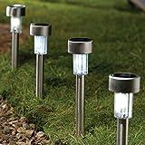 Inditradition Solar Powered Garden Pathways LED Light | Solar Garden Light (Stainless Steel Body, White) | Pack of 02