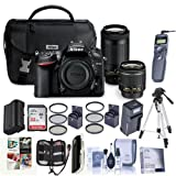 Nikon D7200 DSLR Camera Kit with AF-P DX 18-55mm f/3.5-5.6G VR Lens AF-P DX 70-300mm f/4.5-6.3G ED Lens - Bundle With 32GB SDHC Card, Spare Battery, Tripod, 55mm/67 Filter Kit, Memory Wallet And More