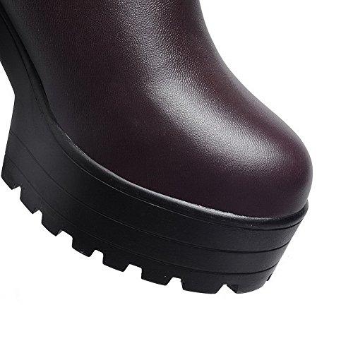 AgooLar Damen Weiches Material Rund Zehe Rein Überknie Hohe Stiefel Hoher Absatz Stiefel Braun