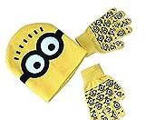 Kinder Minions Mütze und handschuhe set 3 farben, one size stretch fit - Gelb