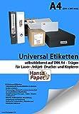 Universal-Etiketten, 210x297mm, 100 Blatt, selbstklebend, allround-Qualität weiss hochwertig selbstklebend Din A4 Laser- /Inkjet Drucker und Kopierer