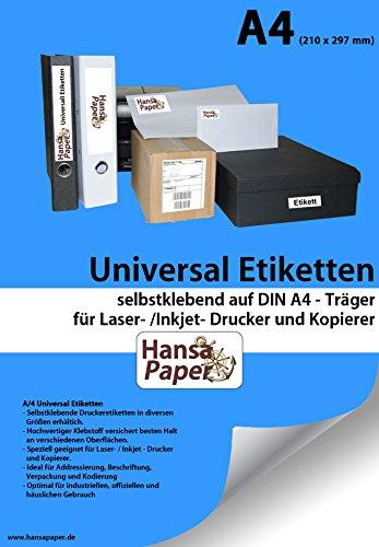 Universal-Etiketten, 210x297mm, 100 Blatt, selbstklebend, allround-Qualität weiss hochwertig selbstklebend Din A4 Laser- /Inkjet Drucker und Kopierer Hochwertige Laser-drucker