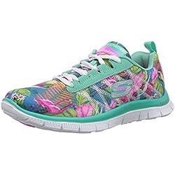 Skechers Flex Appeal Floral Bloom Mint Multi Womens Trainers Shoes-3